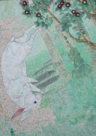 奨励賞日本画部門 深町聡美(日本画院1年)「移ろい,春へ」