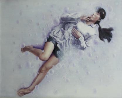 奨励賞西洋画部門 宮崎遥名(西洋画2年)「しゃぼんだまとゆめ」