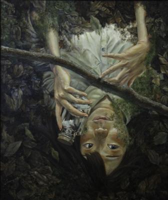 佳作賞西洋画部門 峰松詩織(西洋画2年)「凝視」